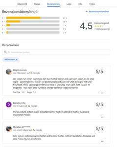 110 Google Rezensionen sagen: Hervorragend -darauf sind wir stolz